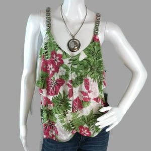 New With Tag INC International Floral Tank Size M